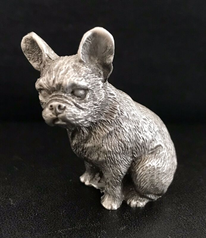 Solid Pewter FRENCH BULLDOG Dog Puppy Silver Metal Figurine Statue M