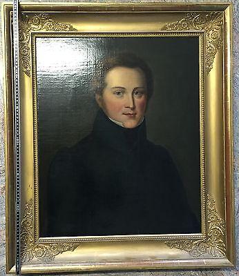 Biedermeier Portrait eines Herren Mitte 19 Jhd  mit original Rahmen
