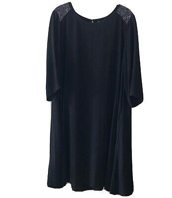EILEEN FISHER 3/4 Sleeve 100% Silk Black Round Neck Sequined Swing Dress size L