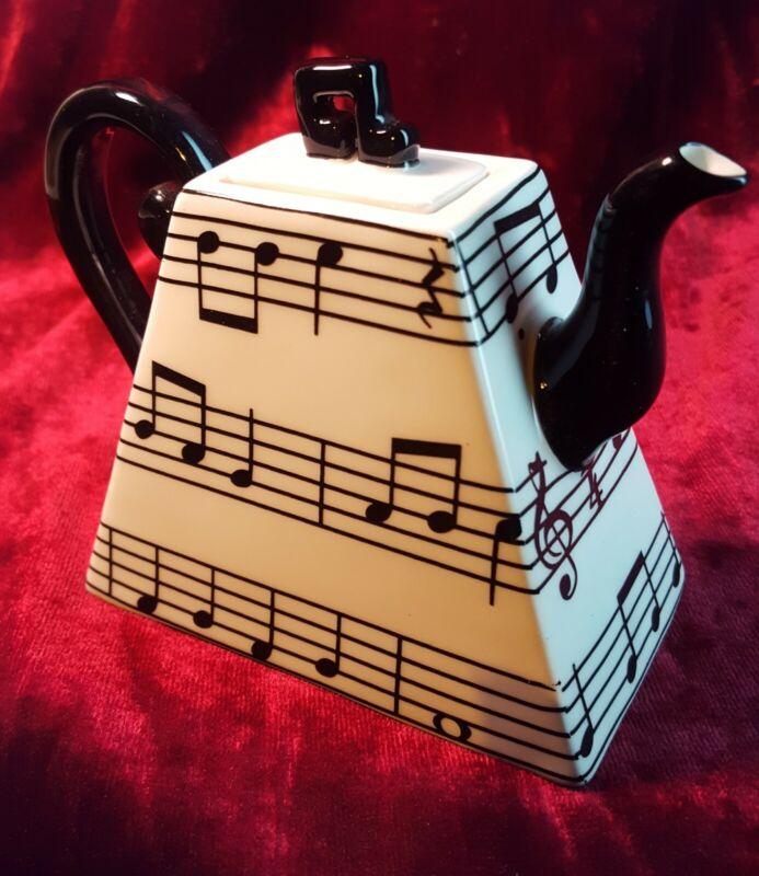 Fitz & Floyd Mini Teapot - Sheet Music - Musical Notes - Discontinued