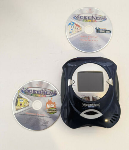 2004 Video Now Color player BLUE Hasbro VideoNow 2 DISCS SPONGEBOB ROBOT TESTED