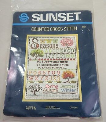 """SUNSET Counted Cross Stitch Kit A SEASON AND A TIME 11"""" X 14"""" Sampler #2924"""