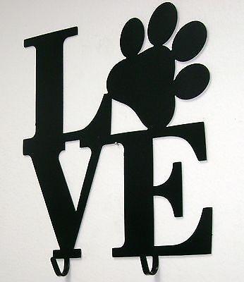 Black Metal Dog Leash Holder- Puppy Love Paw Print Wall Decor Sign 2 Hooks Love Paw Leash