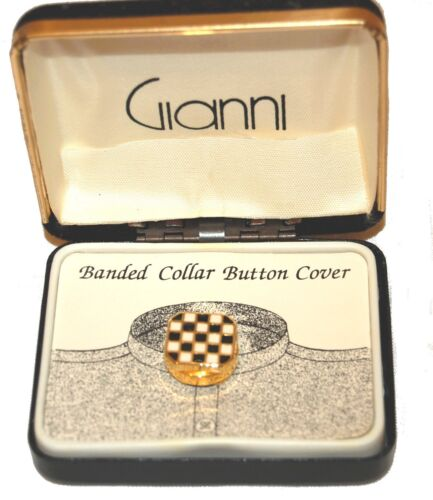 Gianni Banded Collar Button Cover - Gold Toned Black White NEW