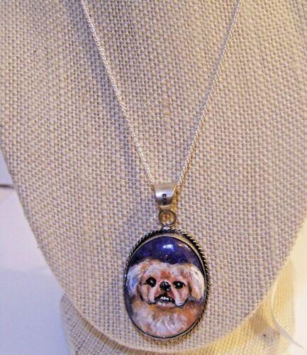 "hand painted Pekingese  gemstone pendant .925  sterling silver 18""  chain"