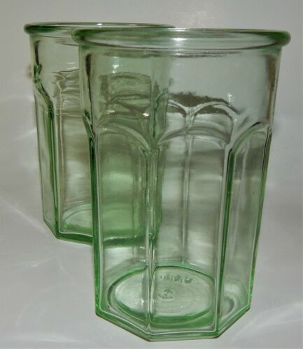 2 Green Depression Pre Anchor Hocking Glass Octagonal Tumblers Working Glasses