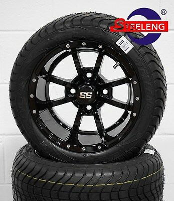"GOLF CART 12"" BLACK STORM TROOPER WHEELS and 215/40-12 DOT LOW PROFILE TIRES(4)"