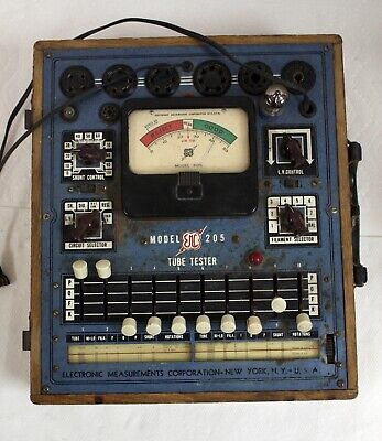 Vintage Emc 205 Tube Tester With Roll Chart Tested Against A Hickok 6000a