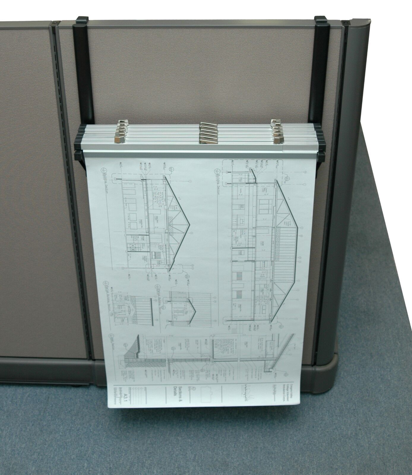 Details About Adiroffice Cubicle Rack For Blueprints Hanging Clamps Plans Posters 618