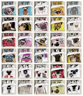Pug Puppy Duvet Cover Set Twin Queen King Sizes with Pillow