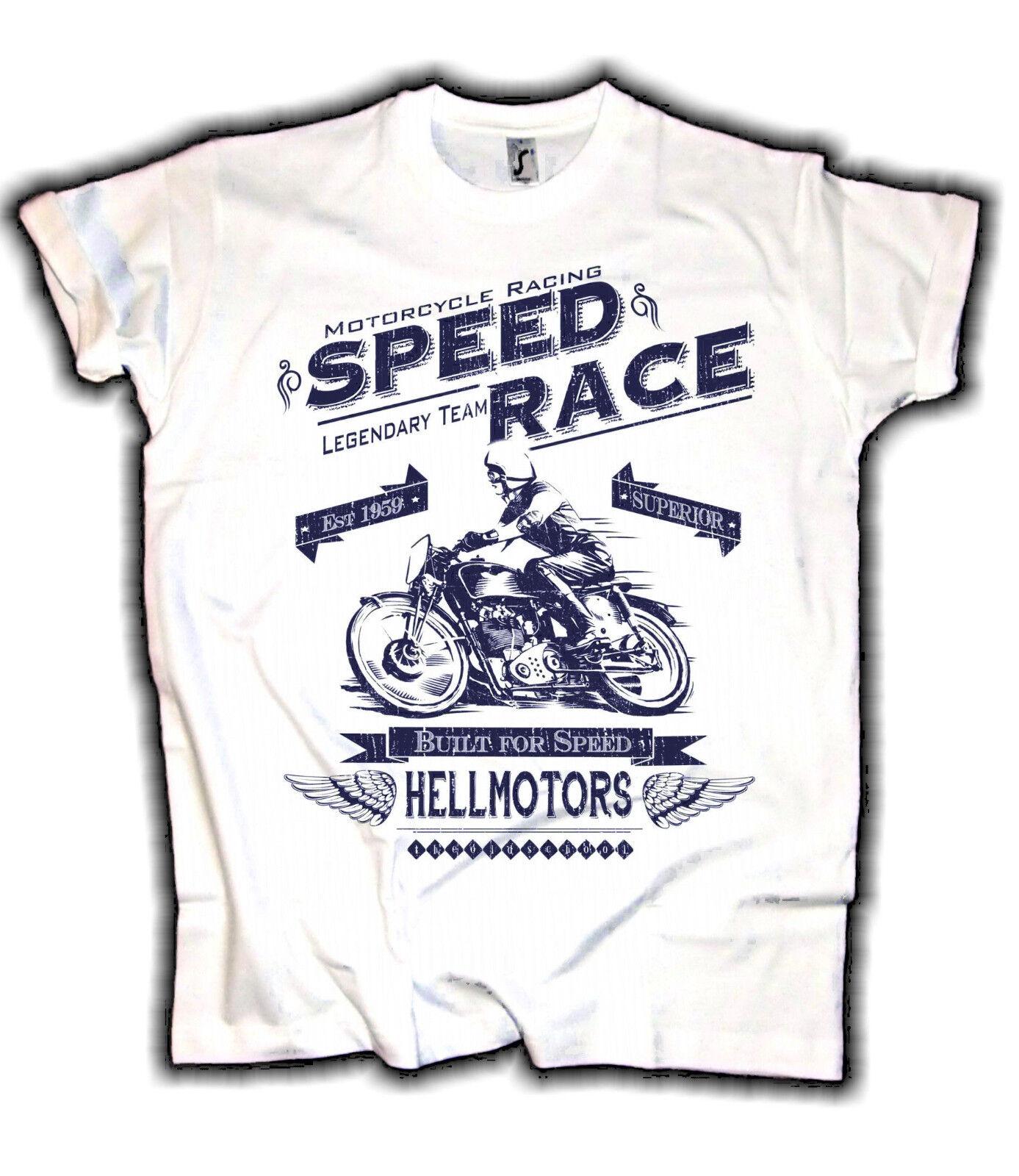 Herren Biker T-Shirt *Speed Race* Reduziert Lagerabverkauf Cafe Racer Motorrad