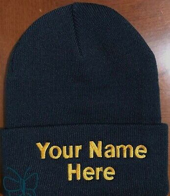 Custom (Personalized) Embroidered Beanie Embroidery Beanie Knit Cap w/Cuff Navy Personalized Knit Caps