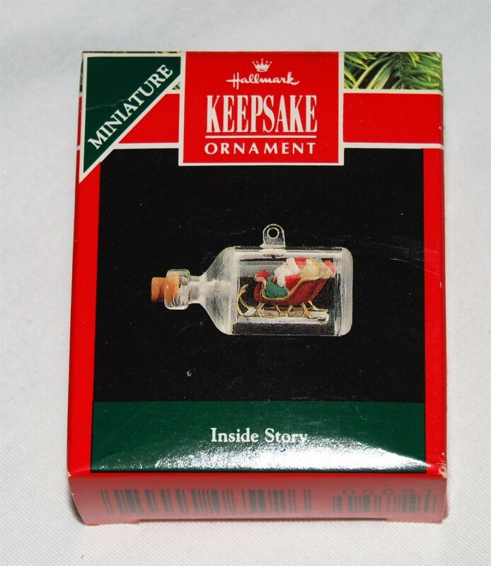 Hallmark Miniature Ornament NEW in box - 1992 Inside Story - Santa in bottle