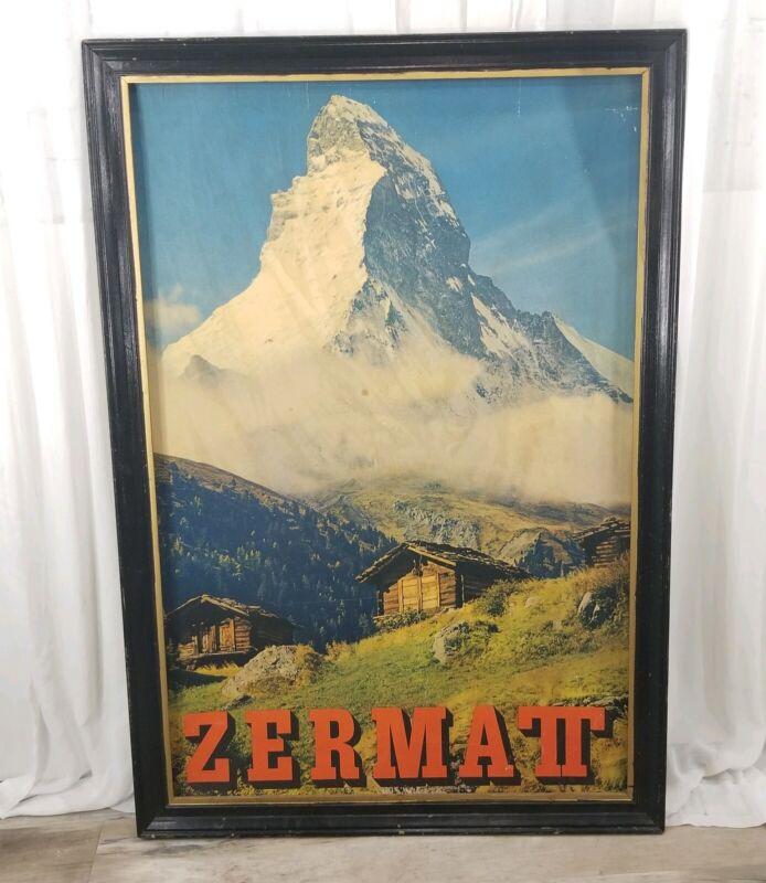 Original Vintage Swiss Travel Poster Zermatt Mountain Switzerland Village