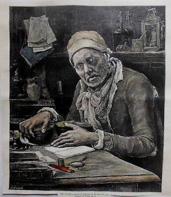 DER GEIZHALS.UN AVARE/DAPRES LE TABLEAU DE M.BRUCK-LAJOS.KOLOR.HOLZSCHNITT 1886.
