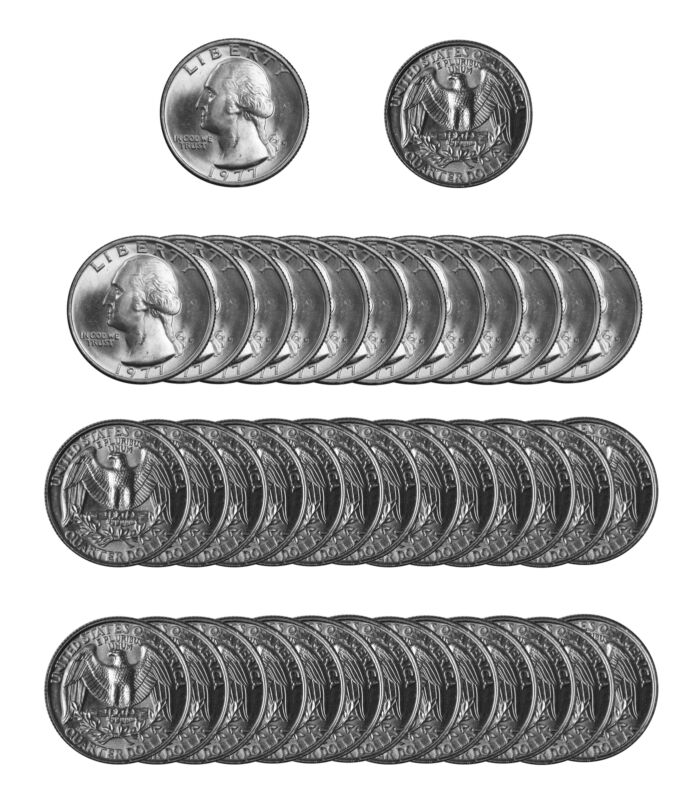 1977 -D Washington Quarter Roll BU Clad 40 US Coins