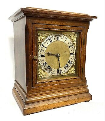 Antique Square Oak Cased Mantel Clock By Winterhalder & Hofmeier