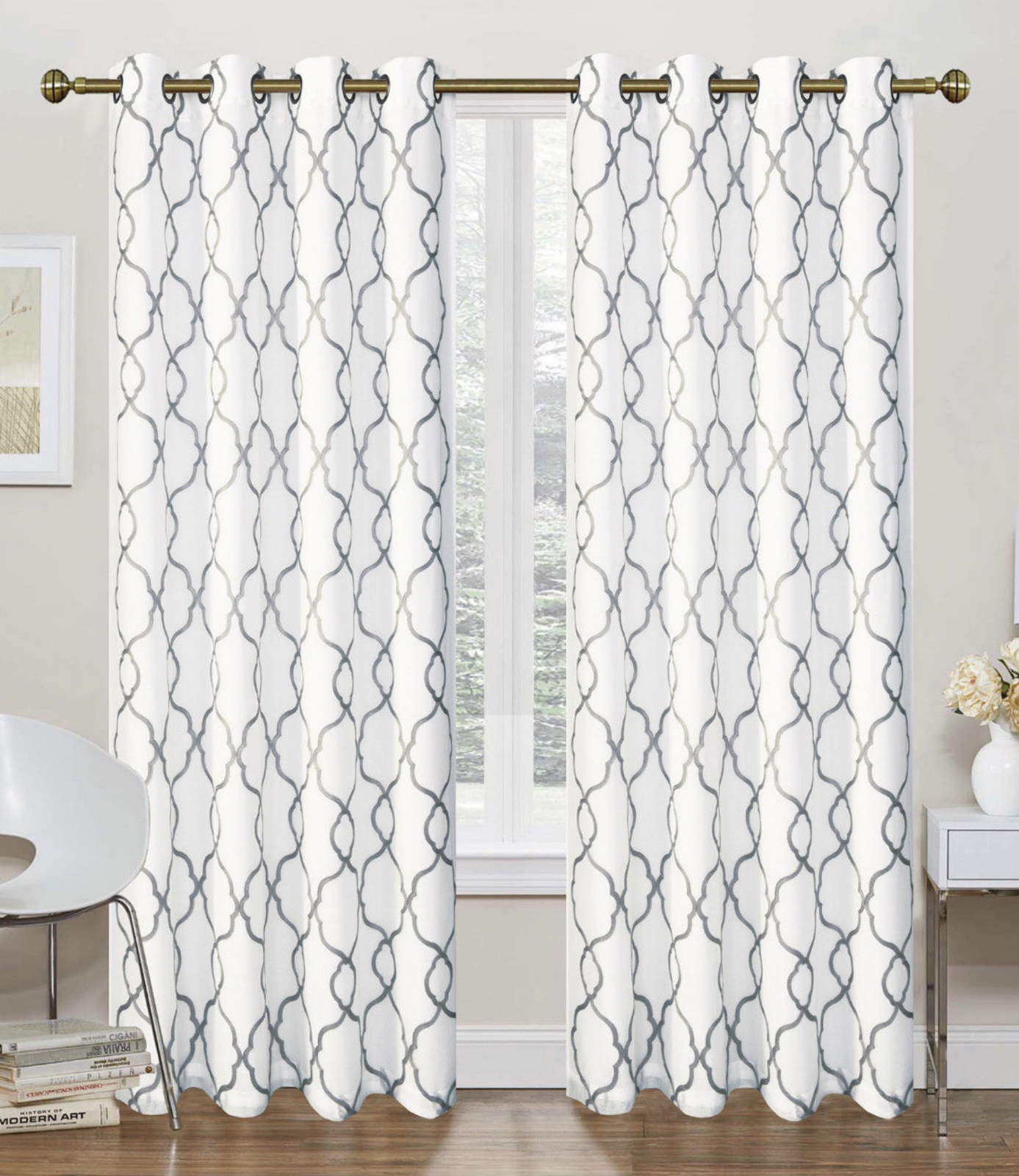 2 Pack: Geo Trellis Sheer Embroidered Grommet Curtains - Ass