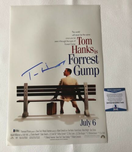 TOM HANKS SIGNED AUTOGRAPHED FORREST GUMP 12X18 PHOTO POSTER BECKETT BAS COA 7