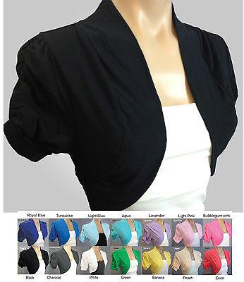 NEW NWOT Cinched Short Sleeve Cotton Shrug Jacket Bolero Cardigan