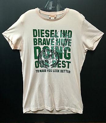 Diesel Medium 100% Cotton Pink Printing Men Short Sleeve Crewneck Tee T-shirt