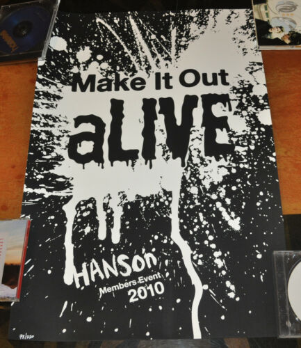 *RARE* Hanson 2010 Halloween Make It Out Alive Members Event poster!