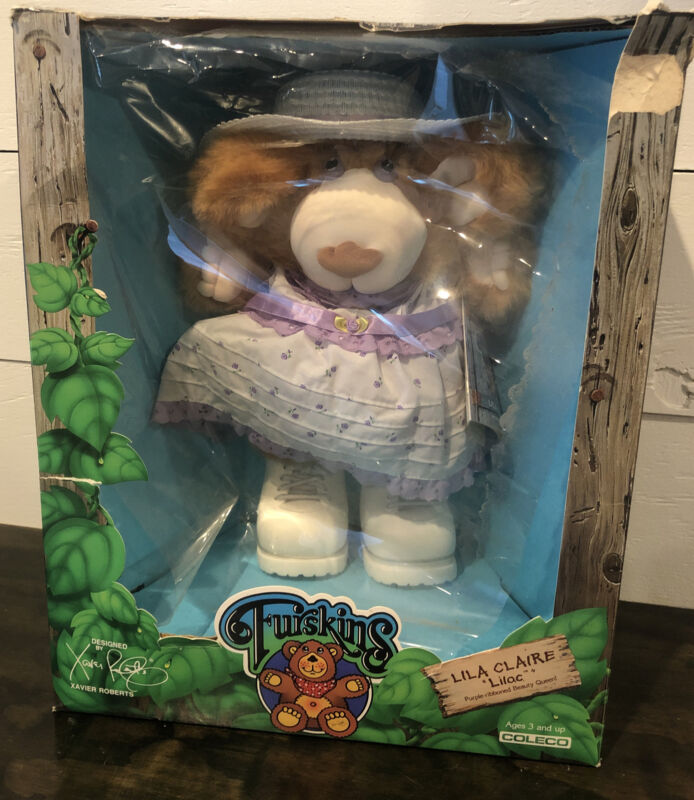 Vintage Furskins Lila Claire Lilac Teddy Bear Complete In Box! 1986 Cabbage Tags