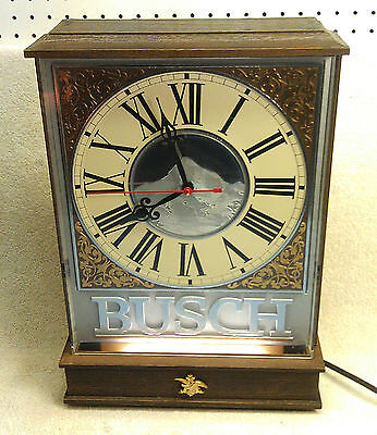 Rare Large Vintage Lighted Busch Beer Bar Clock, Excellent Condition!