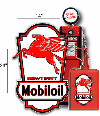 """24"""" X 14"""" MOBIL MOBILOIL SIGN LUBSTER SIDE DECAL OIL CAN GAS PUMP GASOLINE"""