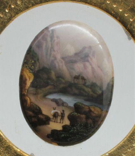 Rare Antique Miniature Hand Painted Porcelain Plaque Mountain Lake Scene Framed