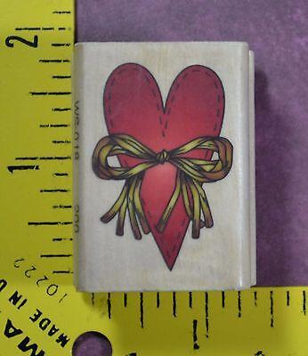 STITCHED HEART & RAFFIA BOW wedding love anniversary Valentine's rubber stamp