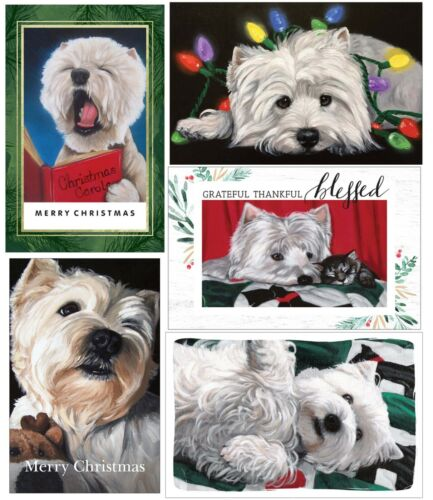 Holiday Christmas card set of 5 Westies dog from original painting art