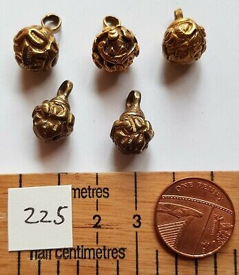 5 vintage metal ball shaped blouse buttons