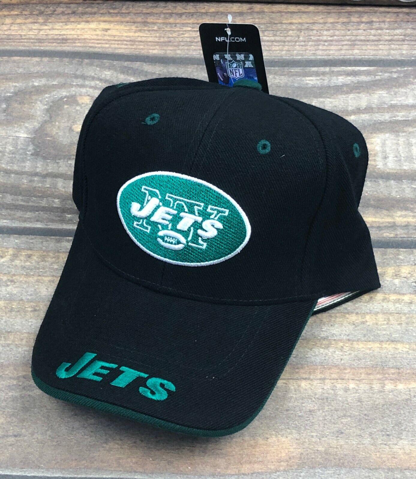 New York Jets NFL Strapback Curved Brim Adjustable Hat Cap,
