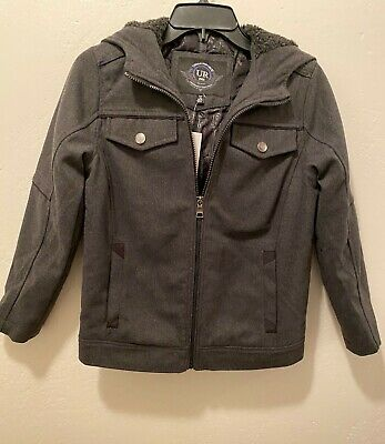 Policeman With Boys (Urban Republic Boys Wool Officer Jacket With Hood, (Charcoal,)