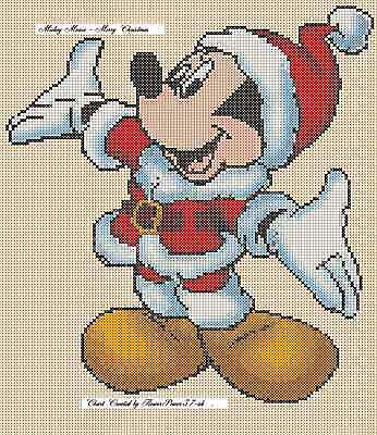 Mickey Mouse Merry Christmas Counted Cross Stitch Chart No. 10-24