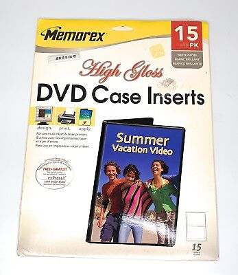 Memorex CD/DVD Jewel Case Inserts High Gloss 15 Pack New