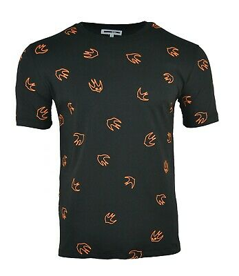 MCQ SWALLOW SILHOUETTE PRINT T-SHIRT BLACK & ORANGE ALEXANDER MCQUEEN BIRD RARE