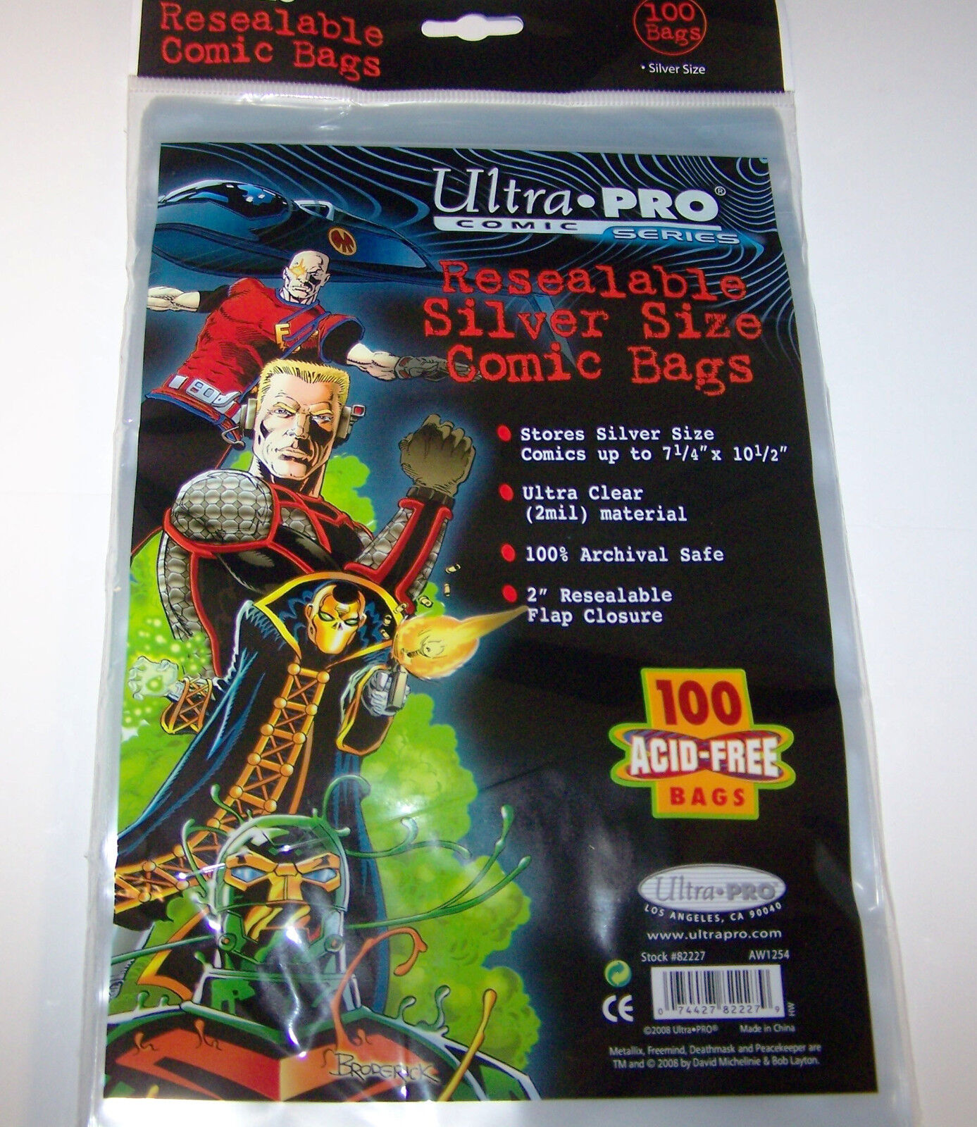 """1 Pack of 100 Ultra Pro 7 1//4/"""" Silver Comic Book Storage Bags RESEALABLE"""