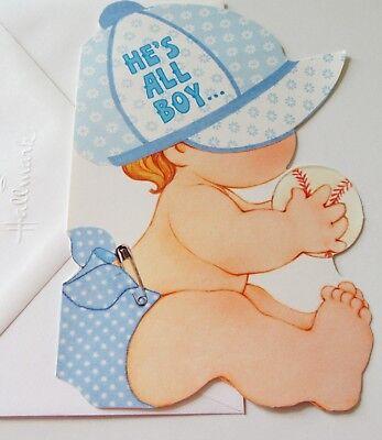 Unused Vtg Baby Boy Announcement Card Cute Boy in Diaper & Hat w Baseball