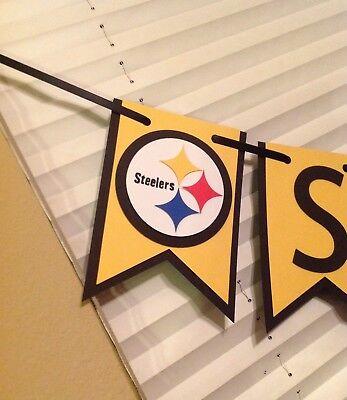 Nfl Pittsburgh Steelers Banner Happy Birthday Anniversary Custom Name Handmade  - Steelers Happy Birthday