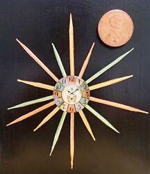 New! DollHouse Miniature Starburst Clock Wood Wall Decor~Mid-Century Modern $35.