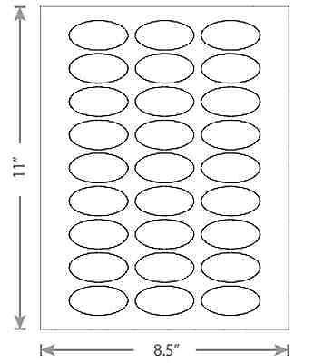100 Sheets White Laser Inkjet 2x1 Oval Multi Purpose Jar Stickers Labels 27-up