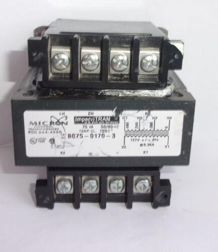 MICRON CONTROL IMPERVITRAN B075 0170 3  75VA 122V 0,35A TRANSFORMER LIGHTLY USED