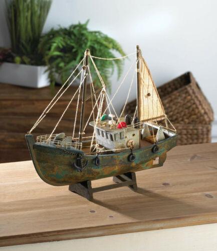 rustic commercial FISHING shrimp BOAT wood SHIP MODEL nautical statue object