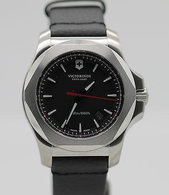 New Victorinox Swiss Army Inox Black Leather Strap Mens Watch 241737.1