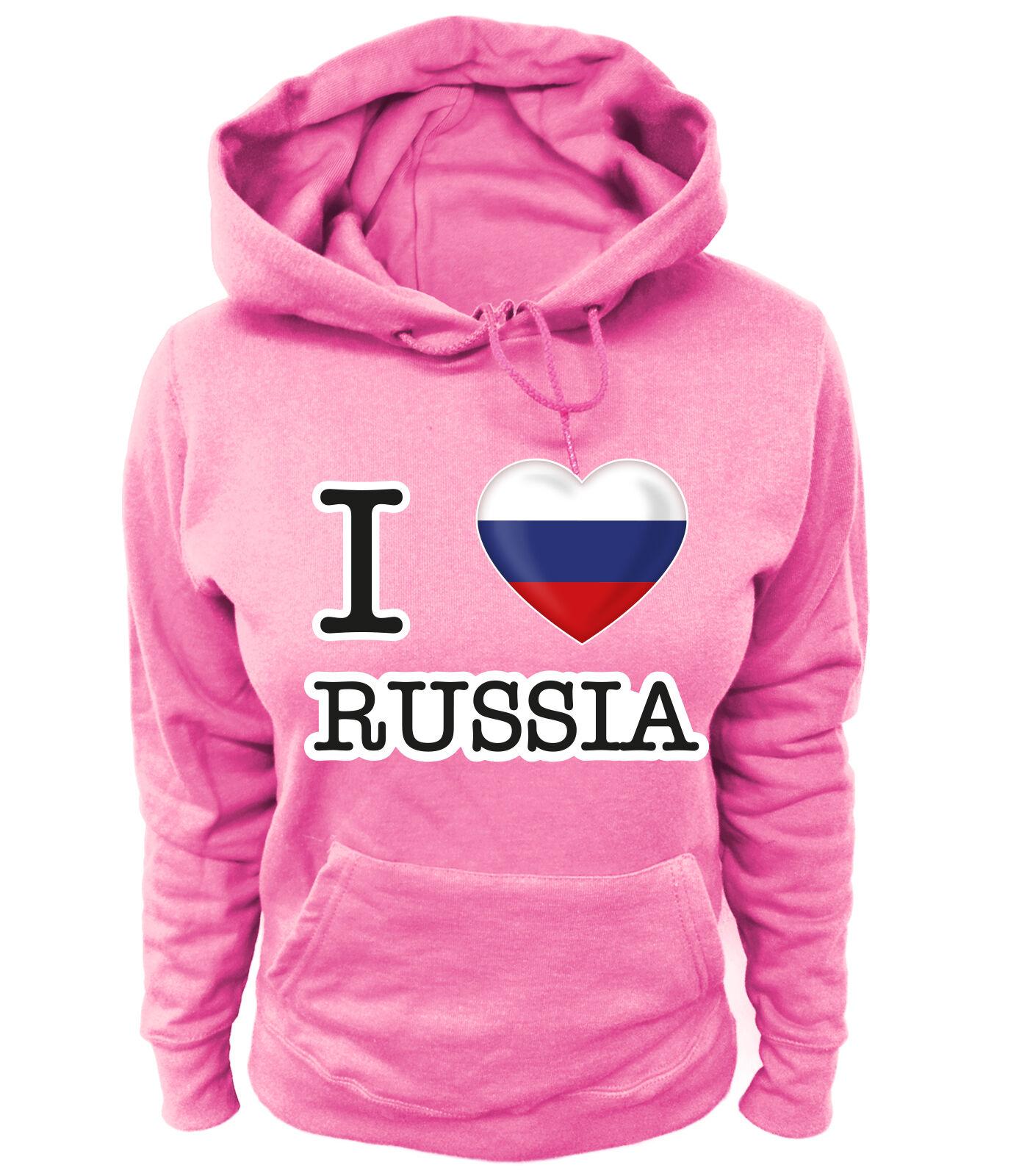 Damen Hoodie I LOVE – Россия Russland Russia Moskau RUS Fußball Soccer DG
