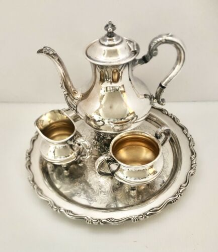 Vintage Reed Barton Regent 5600 Silverplate Tea Set With WM A Rogers S.P. Tray - $199.00