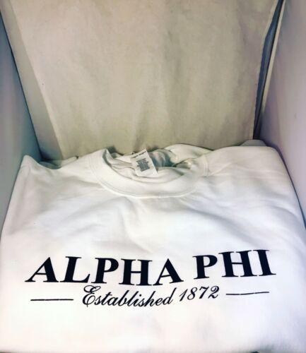 Alpha Phi Sorority Crewneck Sweatshirt- White- Size XL- New!