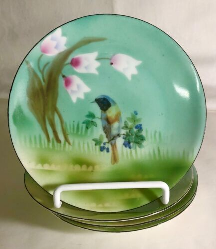 """4 E.S. Germany Hand Painted Porcelain 6"""" Bird Plates"""